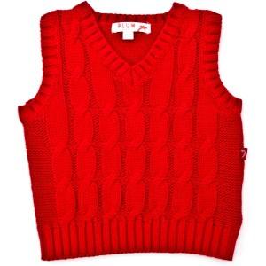Boy's Knit Cable Vest - Plum
