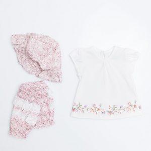 Floral Swing Top, Pants Hat Set