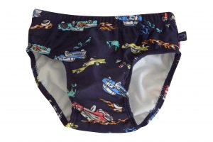 Little Boys Cars Swim Nappy Back - Plum