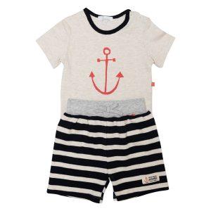 Little Boy's Anchor Tee and Stripe Shorts - Plum