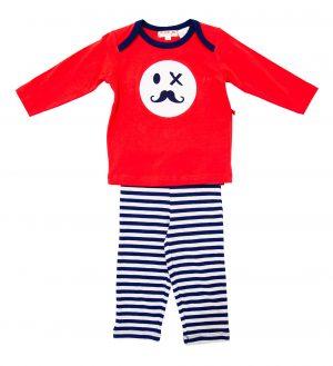 Mr Moustache Boys Pyjamas - Plum