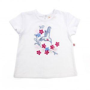 Embroidered Bird Tee-Shirt - Plum