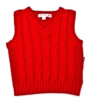 Boy's Knit Cable Vest - Plum
