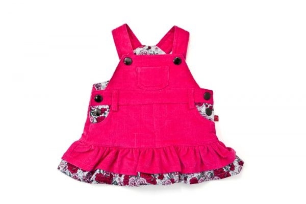 Girl's Pink Rose Cord Pinafore - Plum