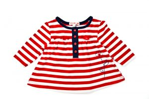 Girl's Red Stripe Swing Top - Plum