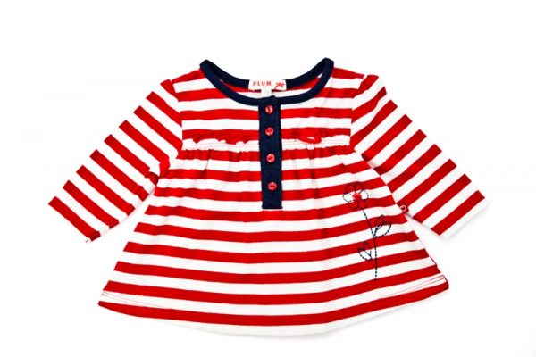 Girl's Red Stripe Swing Top - Plum