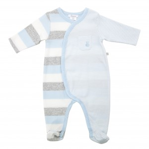 Boy's Blue Stripe Romper - Plum