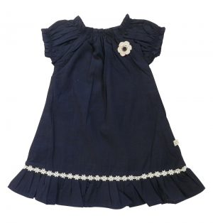 Little Girl's Shirred Dress Navy - Tiny Twig