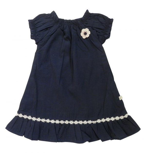 Little Girl's Shirred Dress Navy - Tiny Twig