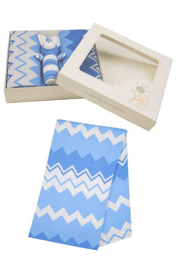 Chevron Stripe Blanket and Rattle - Jujo Baby