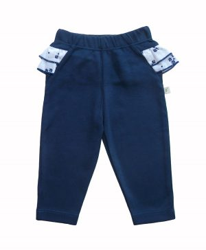Girl's Pants with Frill Navy - Tiny Twig