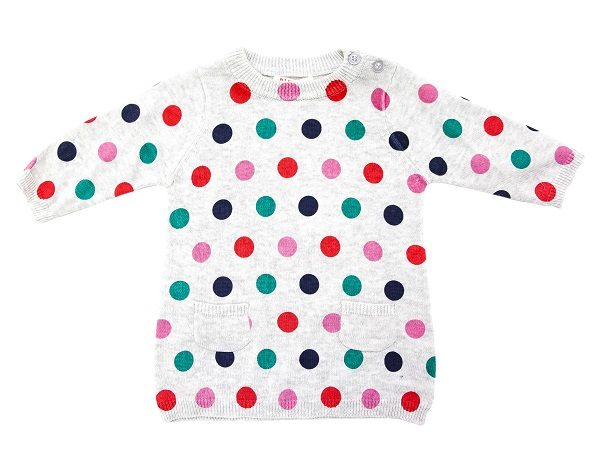 Girl's Spot Dress - Plum
