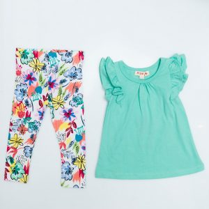 Frill Cap Sleeve Top and Tropical Leggings