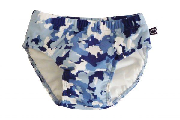 Little Boys Blue Camo Swim Nappy - Plum