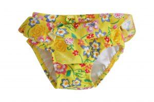 Little Girls Yellow Swim Nappy - Plum