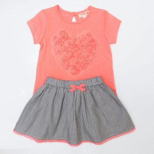 Love Heart Top And Pin Stripe Skirt