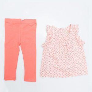Pink Circle Top and Watermelon Leggings - Plum