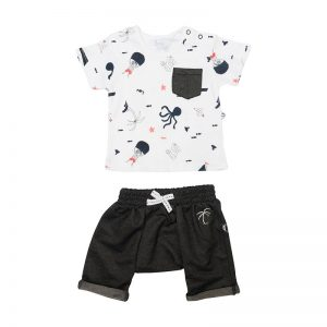 Little Boy's Pirate Palm Tee and Pants - Plum
