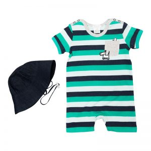 Navy Green Romper and Hat - Plum