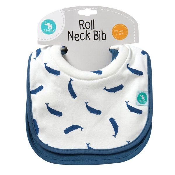 Roll Neck Bib Whales - All4Ella