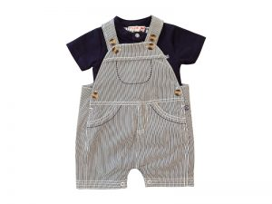 Little Boys Navy Tee and Overall Set - Plum