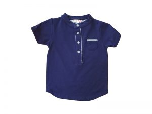 Little Boys Stripe Trim Shirt Navy - Plum