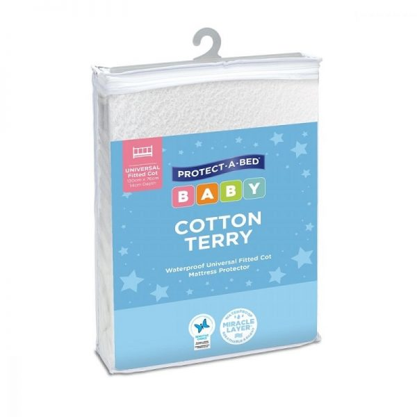 Cotton Terry Universal Fitted Cot Mattress Protector - Protect A Bed