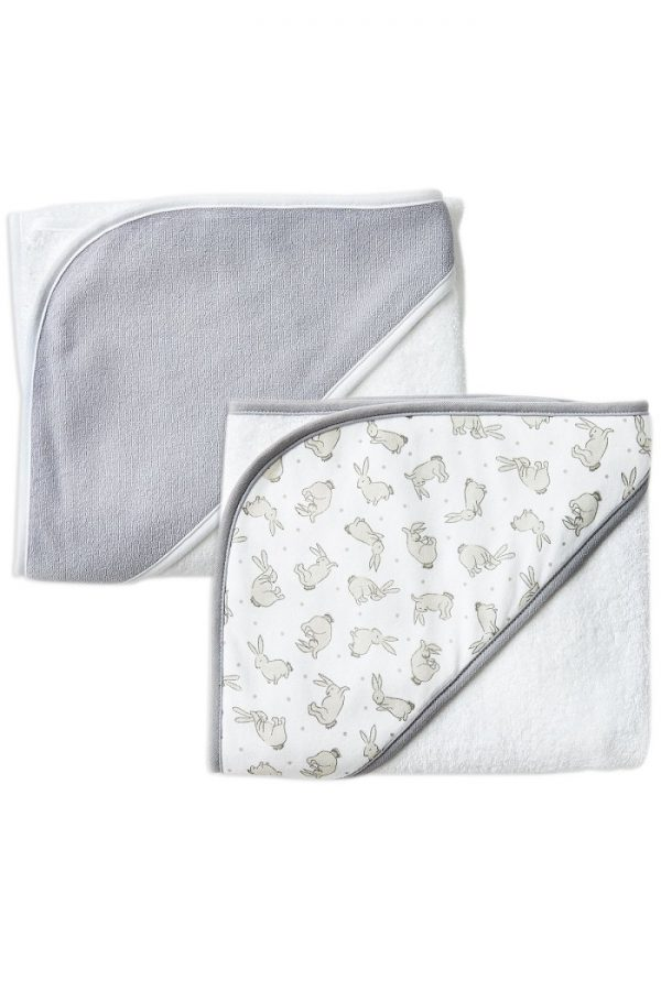 Grey Bunnies 2Pk Hooded Towels - The Little Linen Company