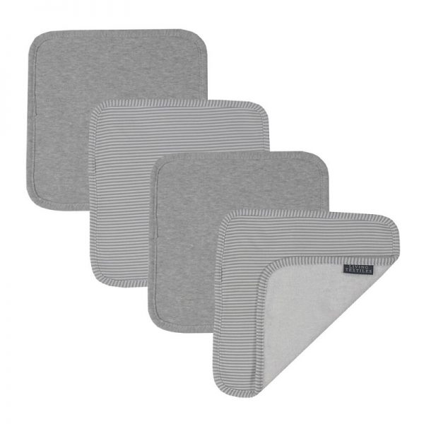 4 Pk Face Washers Grey - Living Textiles