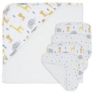 5PC Baby Bath Gift Set Animal Parade - Living Textiles