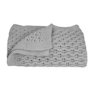 Lattice Knit Blanket Grey - Living Textiles