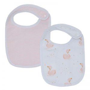 Swan and Stripe Bib Pink 2pk - Living Textiles
