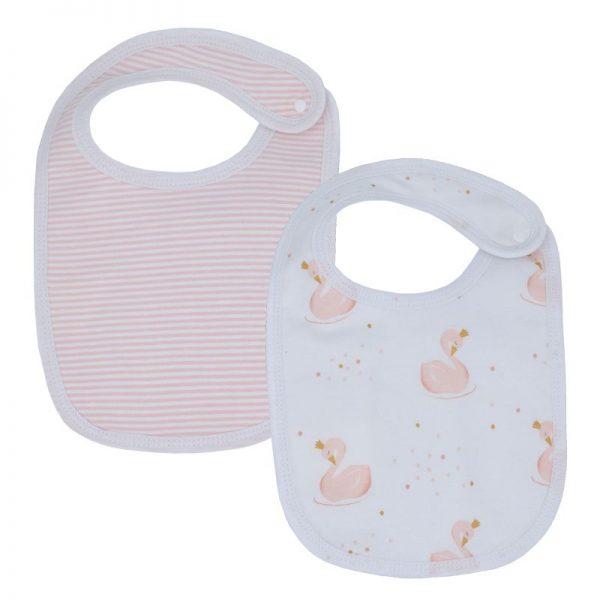 Swan and Stripe Bib Pink 2pk - Living Textiles