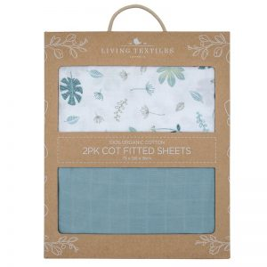 Organic Muslin Cot Fitted Sheets 2pk Teal - Living Textiles