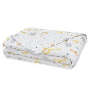 Muslin Pram Blanket Folded Animal Parade - Living Textiles